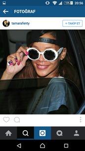 sunglasses,rihanna,white sunglasses