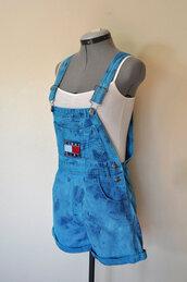 jumpsuit,tommy hilfiger,denim,overalls,acid wash,blue,vintage,denim romper,denim overalls,short overalls,jeans,90s style