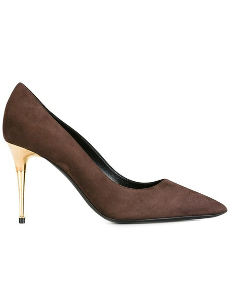Tom Ford pointed toe pumps women pumps leather suede brown shoes