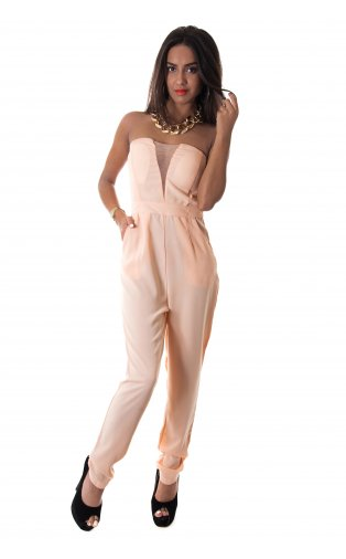 In To Deep Chiffon Jumpsuit In Nude -  from The Fashion Bible  UK
