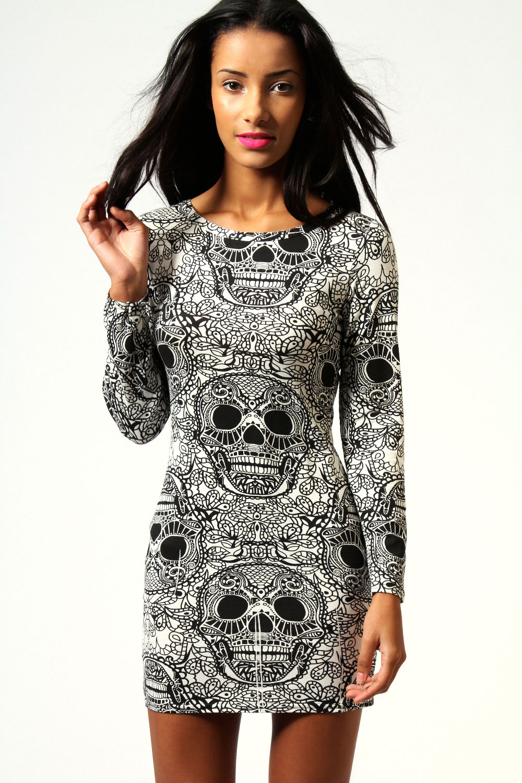 Boohoo myla skull print long sleeve bodycon dress in cream