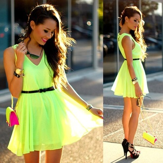 dress lime neon dress yellow dress green dress summer dress day dress neon lime dress
