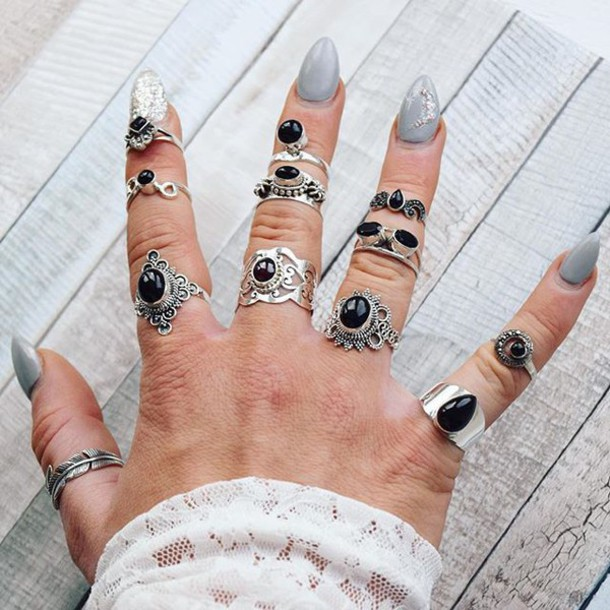 jewels, cherry diva, onyx, ring stack, boho, knuckle ring, ring ...