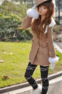 Beige cute slim fit single breasted korean fall collection hooded coat with fur