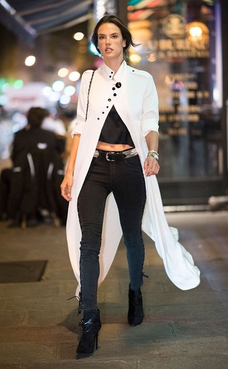 coat jeans crop tops alessandra ambrosio streetstyle paris fashion week 2016 fall outfits model off-duty