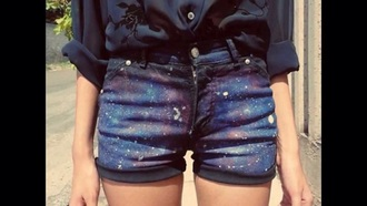 shorts outer space denim shorts