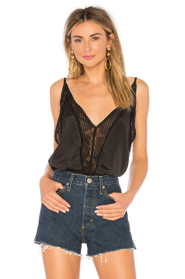 About Us Sharone Lace Satin Bodysuit in black