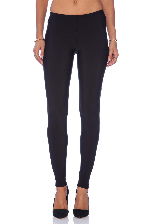 Plush Matte Spandex Fleece Lined Legging in black
