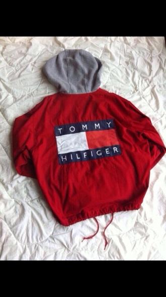 coat jacket tommy hilfiger tommy hilfiger jacket vintage red hot windbreaker