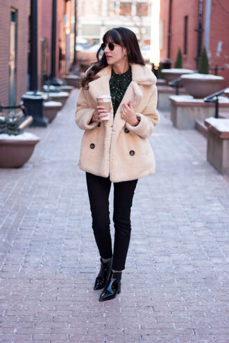 jeans and a teacup blogger coat blouse jeans shoes sunglasses jewels teddy bear coat ankle boots black jeans winter outfits