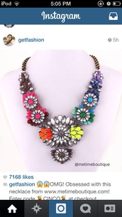 jewels,jewelry,floral,flowers,colorful,cute,pink,necklace,vibrant
