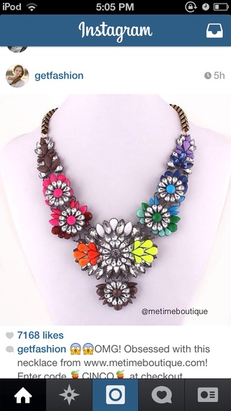 jewels jewelry floral flowers colorful cute pink necklace vibrant