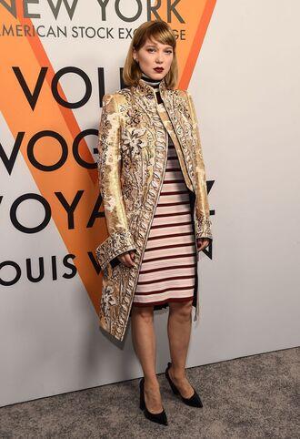 dress stripes striped dress léa seydoux pumps coat jacket midi dress
