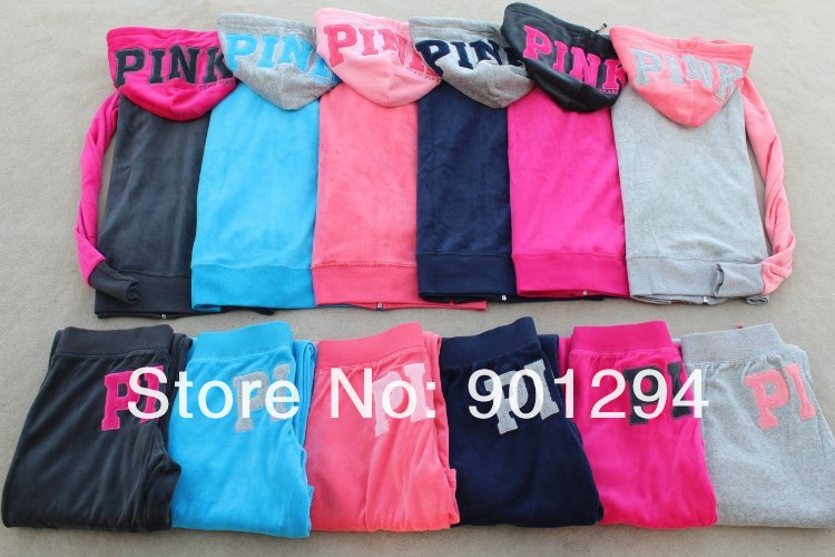 New Fashion Rose Victoria Pink 100% Cotton Leisure Sport  Casual Suit Women Girl Ladies'  Secret Sweatshirt  free ship-in Hoodies & Sweatshirts from Apparel & Accessories on Aliexpress.com
