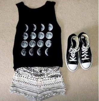 t-shirt black t-shirt converse black and white moon shirt shorts