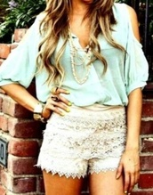 blouse,shoulder less,turquoise,blue,light blue,light green,green blue,necklace,shorts,lace shorts,tan shorts,jewels,haute & rebellious,chiffon blouse,cut out shoulder,white,white shorts,lace,shirt,coral,lime,yellow,tourquoise,summer,cute,rings and tings,outfit,teal shirt,top,blue shirt,mint,summer outfits,dress