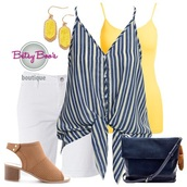tank top,navy,yellow,stripes,fashion,ootd,earrings,jewelry,shoes,shorts,white,women,style,stylish