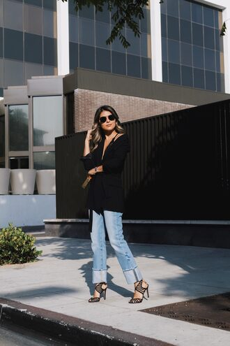 jacket tumblr black blazer blazer denim jeans blue jeans sandals sandal heels high heel sandals black sandals sunglasses underwear shoes