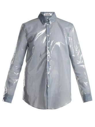 shirt long blue top
