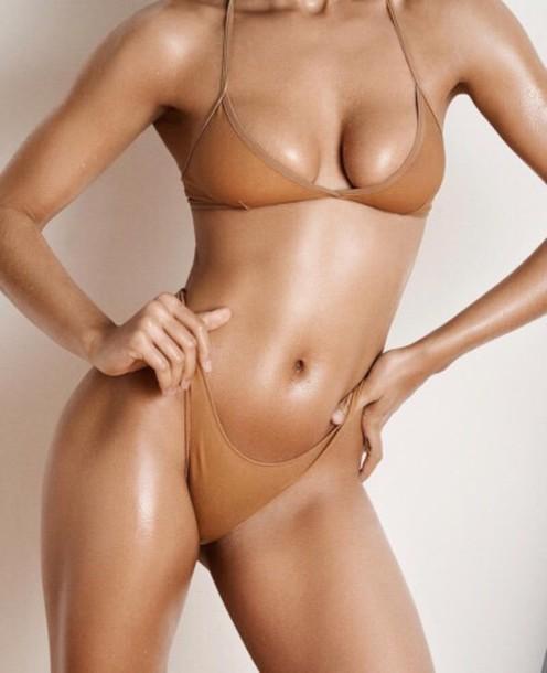 Swimwear Bikini Bikini Top Bikini Bottoms Brown Nude