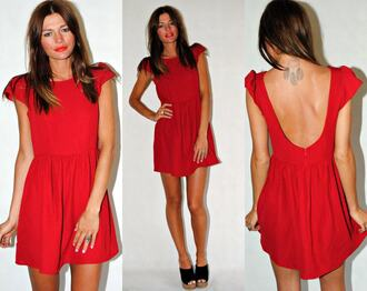 red dress low back babydoll dress cap sleeves dress