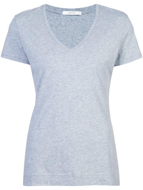 Adam Lippes - v-neck T-shirt - women - Supima Cotton - XS, Grey, Supima Cotton