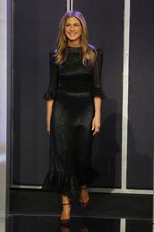 dress,jennifer lopez,celebrity,celebrity style,black dress,glitter,glitter dress,midi dress,pumps