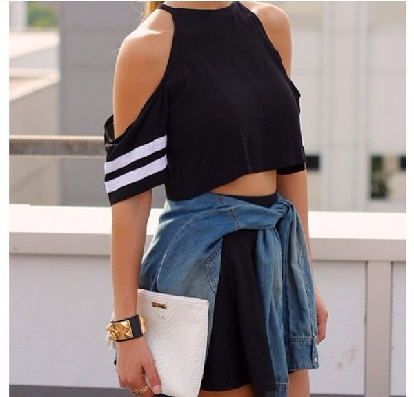 t-shirt jersey cut-out off the shoulder black white stripes shirt crop sleeveless cute hot top baseball opensleeve sunglasses shoulders