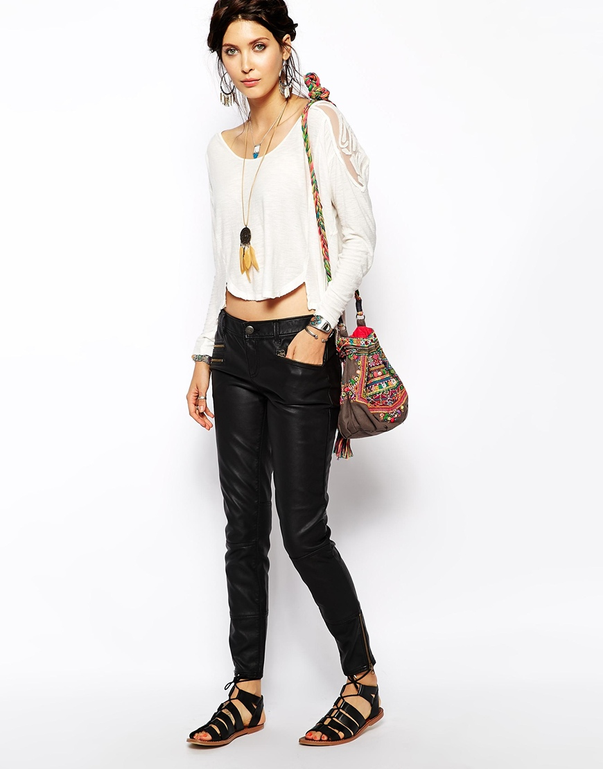 Free People Skinny Trousers in Vegan Leather at asos.com