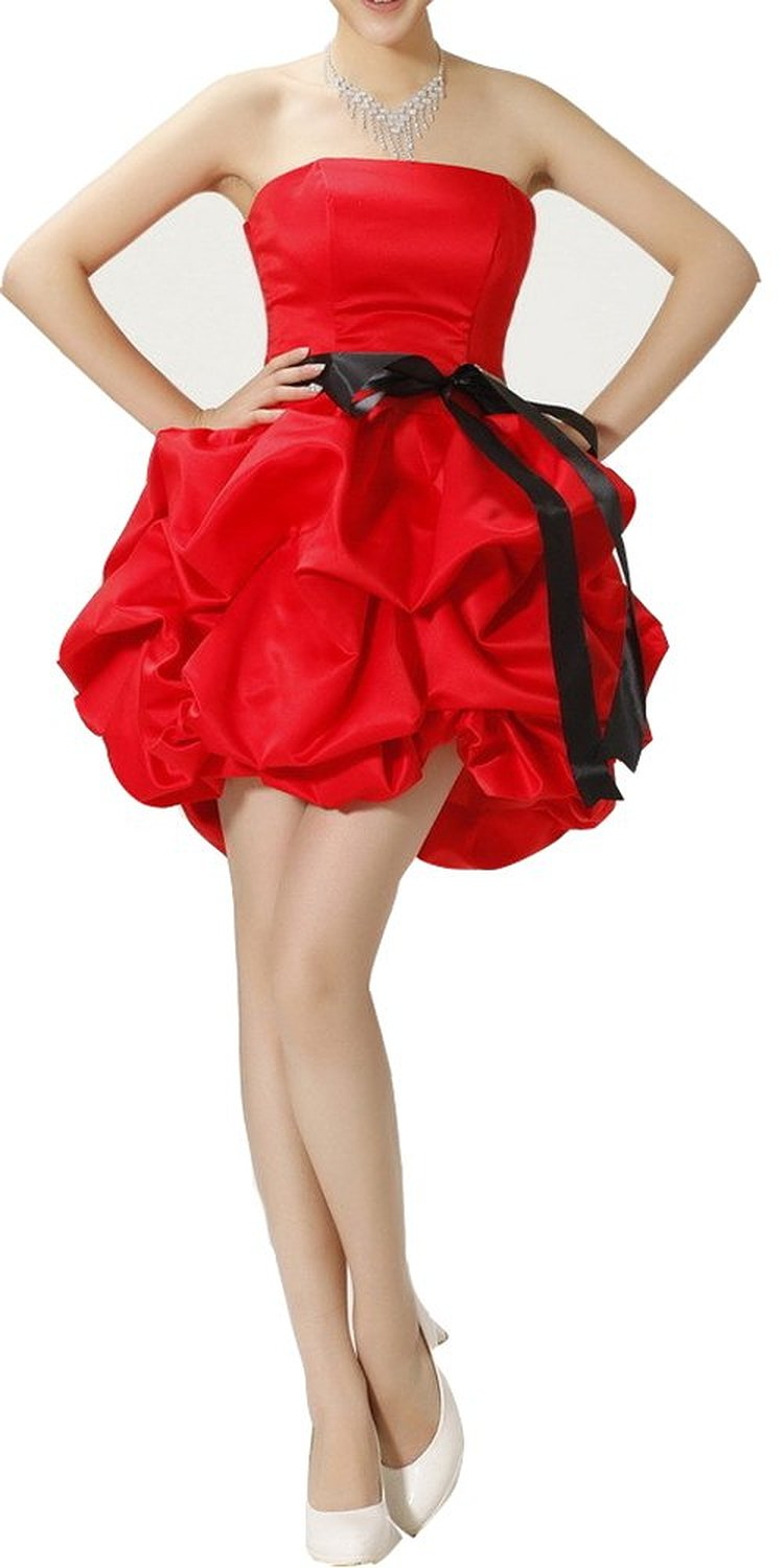 Amazon.com: Red Puffy Taffeta Short Prom Dresses with Bow Kbot Black Sash: Clothing