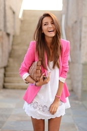lovely pepa,bag,jacket,pink jacket,pink,pink blazer,clothes,dress,blouse,blazer,short sleeved,coat,white,cute outfits,summer outfits,lovely,cute,girl,white dress,pale pink blazer