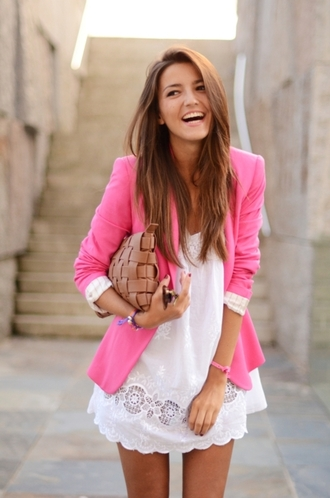 lovely pepa bag dress lace dress white dress white dentelle jacket pink jacket pink pink blazer clothes blouse blazer short sleeved coat cute outfits summer outfits lovely cute summer dress white lace dress fashion cute dress tumblr tumblr girl outfit girly pretty beautiful summer