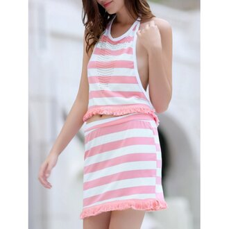 dress two piece dress set stripes pink white fashion style trendy cute girly rose wholesale-ap