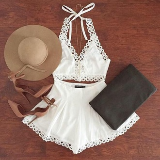 dress crop tops white crop tops lace top lace crop top two-piece two piece dress set skirt shorts romper