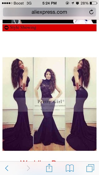 dress black prom lace mermaid long backless pretty chiffon