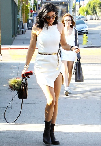 white dress black dress kylie jenner boots asymmetrical