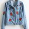 Rose embroidery single breasted denim jacket -shein(sheinside)