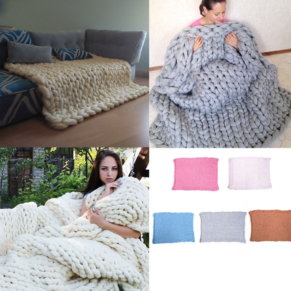 Chunky Knit Blanket Throw Wool Thick Line Yarn Handmade Home Decor