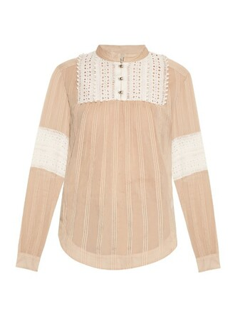 top embroidered cotton silk camel