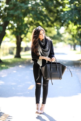 bag knitted scarf ripped jeans peep toe knitted sweater fall outfits winter outfits classy business casual