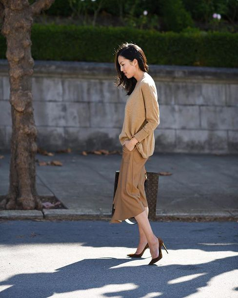 sweater knit work outfits shoes all nude everything