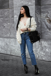 holy nights,blogger,jeans,top,shoes,jewels,cardigan,backpack,boots,camisole