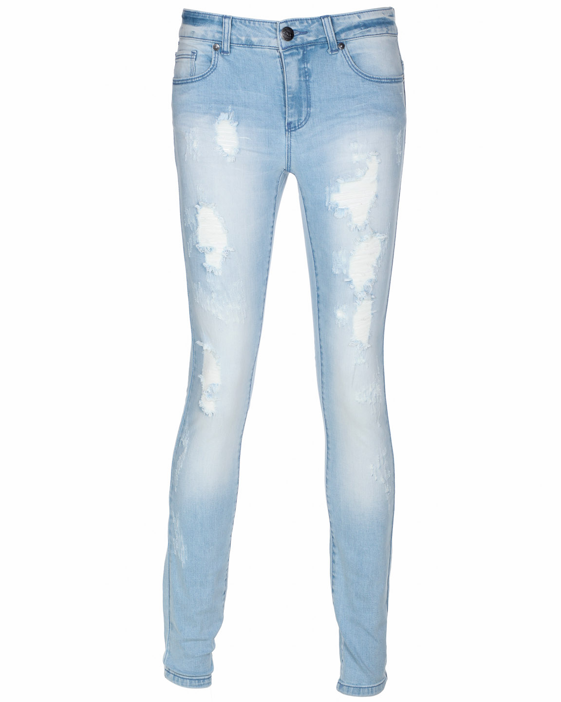 Womens Distressed Ripped Skinny Leg Fit Jeans Light Wash Blue | eBay