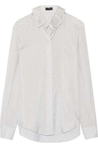 shirt silk satin navy top