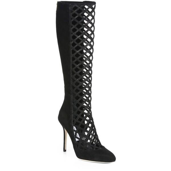 Jimmy Choo Delta Suede Lattice Knee-High Boots