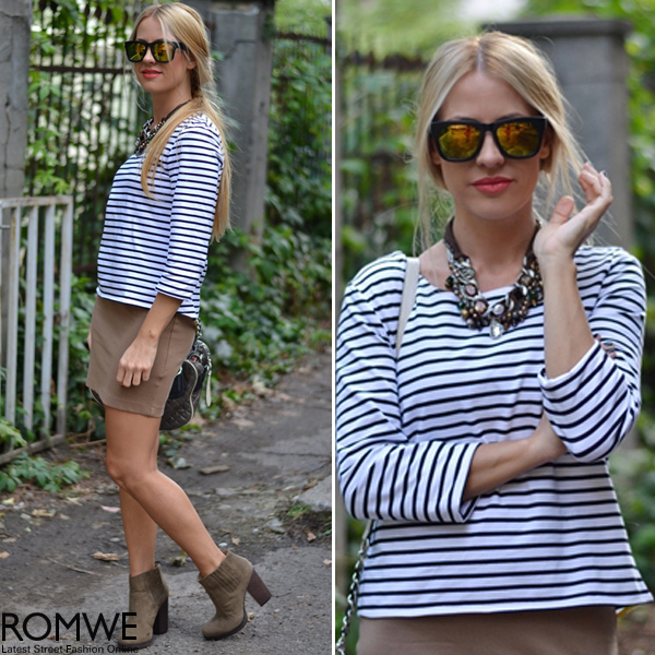 ROMWE | Striped Asymmetric Hem Black T-Shirt, The Latest Street Fashion