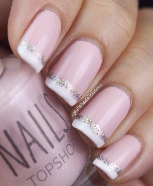 Pink And Blue Glitter Nail Polish: Nail Polish: Light Pink, Silver Glitter, French Manicure