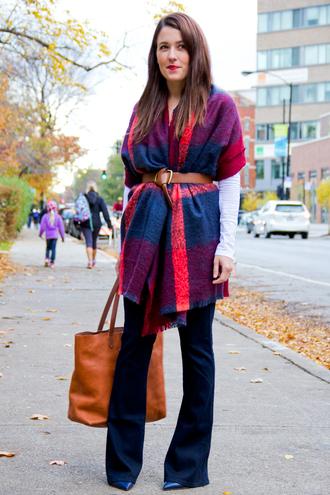 bag leather bag blogger scarf t-shirt sequins and stripes belt checkered flare