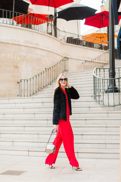 modern ensemble blogger jumpsuit jacket jewels bag shoes red jumpsuits sandals fur jacket winter outfits