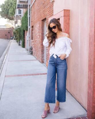 shirt tumblr white shirt off the shoulder off the shoulder top denim jeans blue jeans culottes denim culottes shoes mules sunglasses